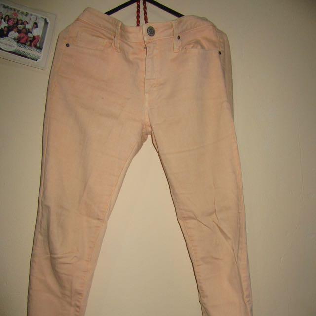 Mango Jeans In Peach