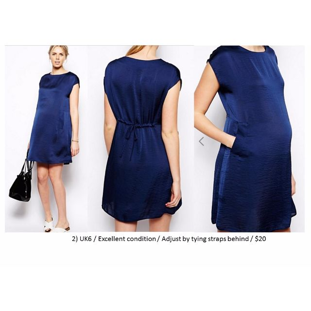Maternity Wear, Maternity Dress in Satin Blue, Excellent Condition ...
