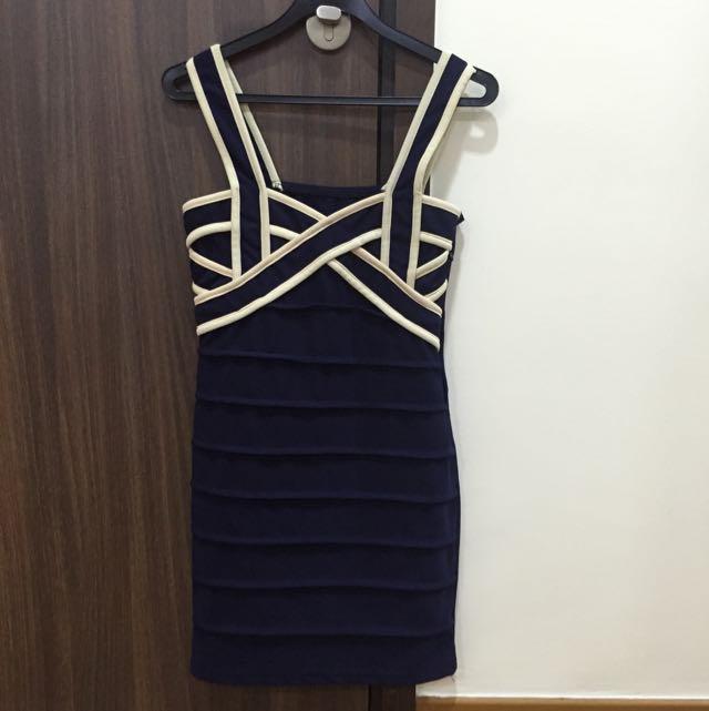 Navy Blue Bodycon Free Size Dress
