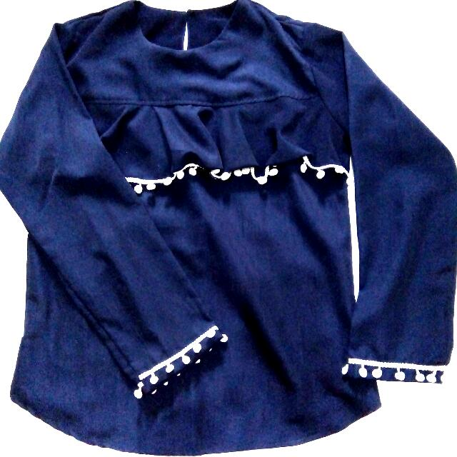 Navy Pompom Blouse