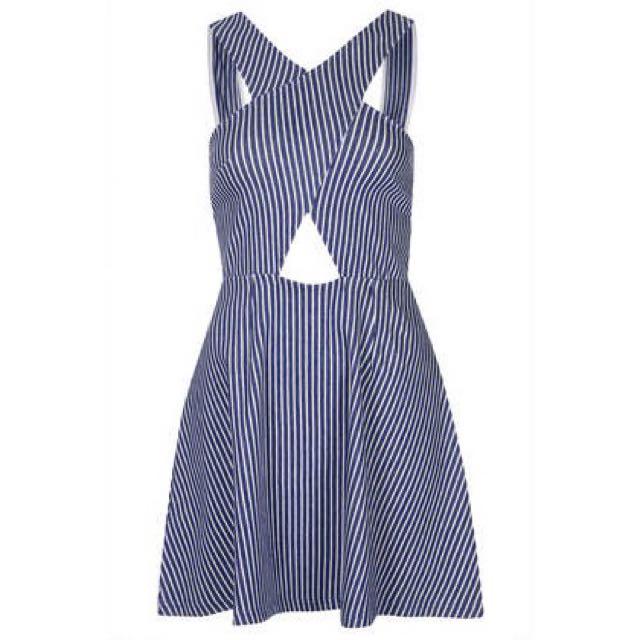 NEW Topshop Cutout Denim Striped Dress