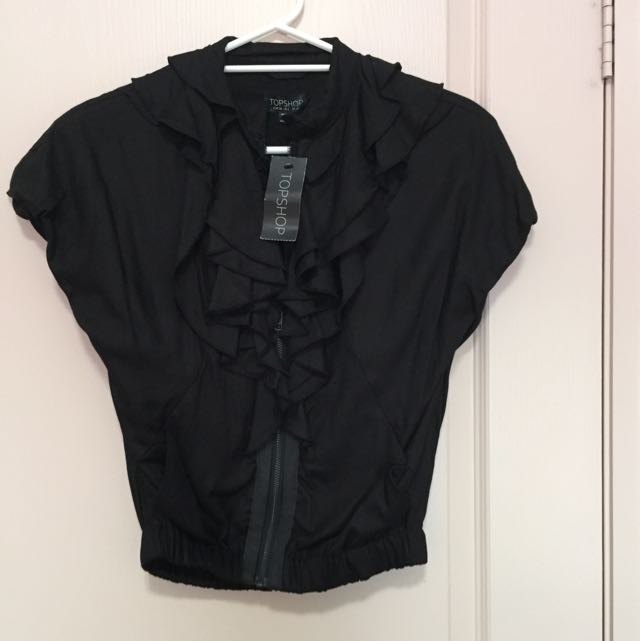 New Zip Up Black Frilly Smart Blouse