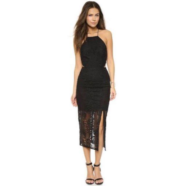 Nicholas Fleur Cross Back Lace Dress - Black