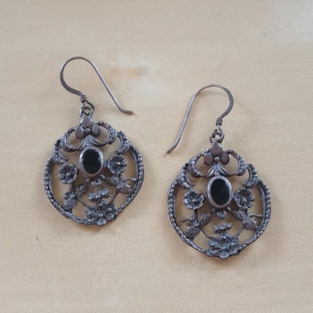 Obsidian Vintage Earrings