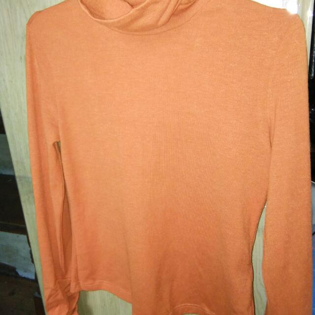 Orange Long Sleeves Turtleneck