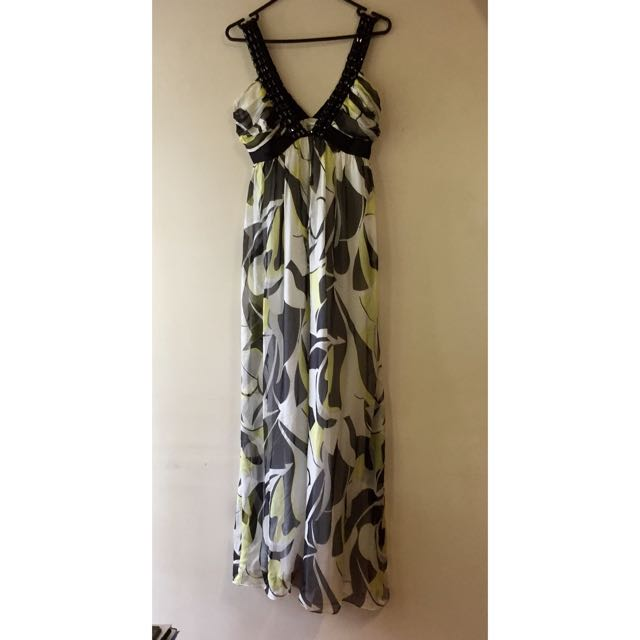 Patterned Maxi Dress With Black Jewels: Size 10