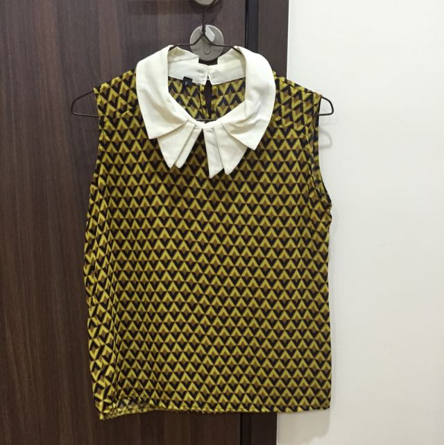 Retro Mustard Yellow Chiffon Top