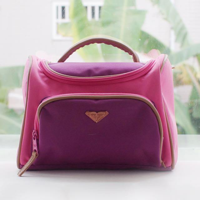 Roxy繽紛旅行袋/盥洗包(粉紅/紫)