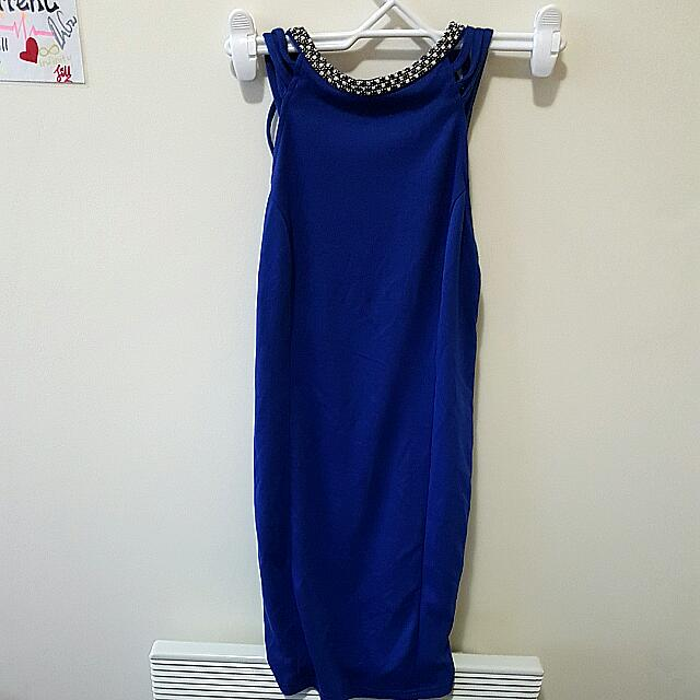 Royal Blue Backless Neck Dress (Tempt) Size S 8-10
