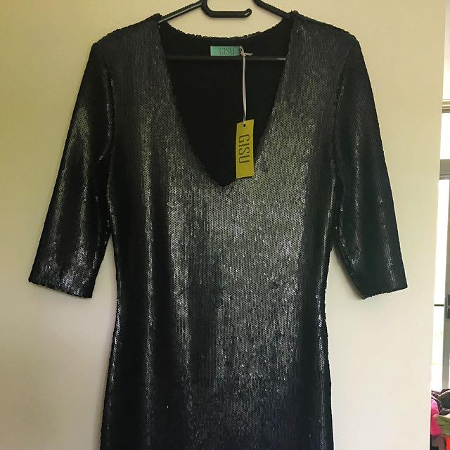 Sequin Long sleeve Plunge Front Dress