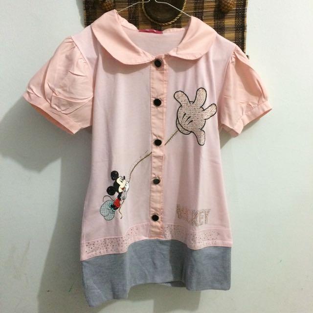 Short Sleeve Pink Mickey Mouse (Kaos Pendek)