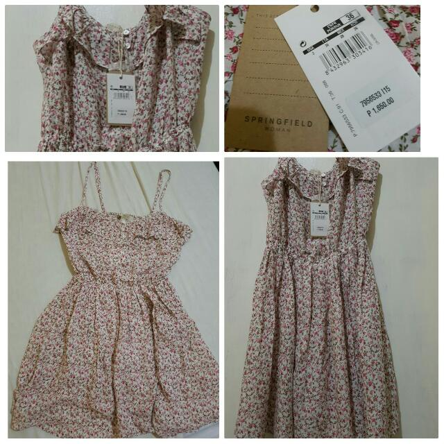 Repriced: Springfield Dress (My House Help Mistakenly Washed This Coz I Asked Him To Wash My New Pink Floral Dress)