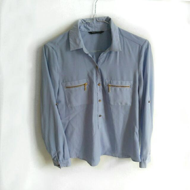 [ USED 1x ] THE EXECUTIVE light blue shirt / kemeja biru muda