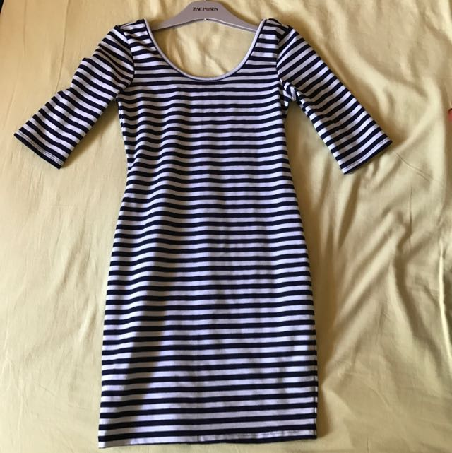 Tobi Navy And White Striped Dress Size XS/6