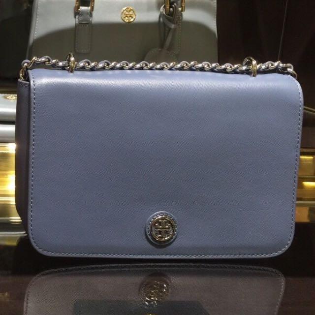 正品Tory Bruch時尚鏈帶天藍色小包/宴會包