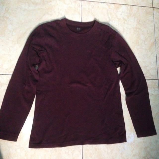 Uniqlo Maroon Long Sleeve Shirt