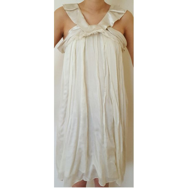 Vanessa Bruno Cream Ruffle Silk Dress Size 36