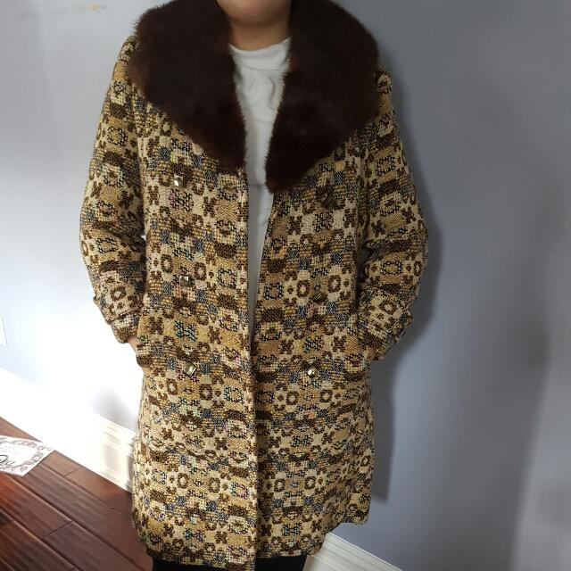 Vintage 1970s Faux Fur Collated Coat