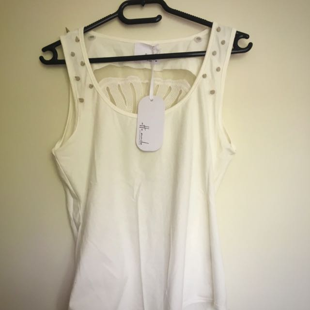 White Bodysuit Metal Studs And Skull Lace Back