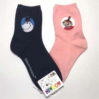 韓國帶回MOOMIN嚕嚕米家族小不點亞美短襪 中統襪