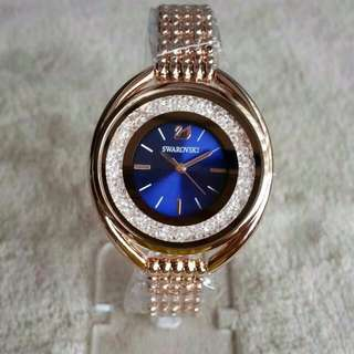 SWAROVSKI CRYSTALLINE ON BLUE ROSEGOLD ON BRACELET FASHION LADIES WATCH