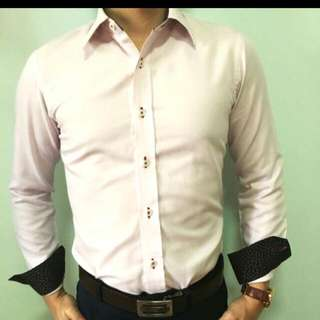 Light Pink Formal Shirt With Contrast