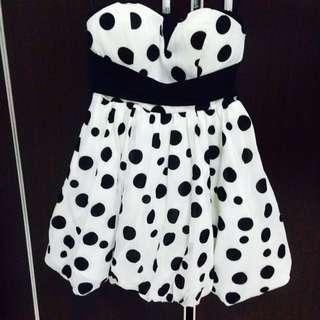 BN Korea Black & White Polka Dots Party Dress