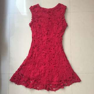 Korean Red Crocheted Dress
