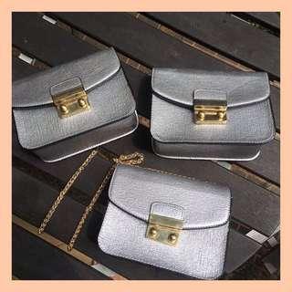 Top Shop Silver Sling Bag