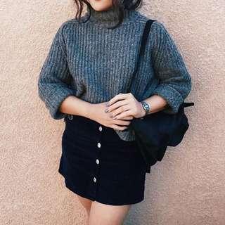 Black Dissh Midi Button Up Skirt