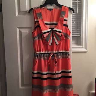 Peach Black And White Dress With Pockets