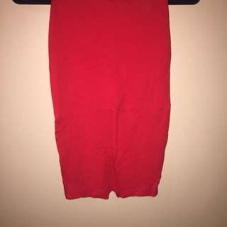 RED AMERICAN APPAREL FITTED PENCIL SKIRT
