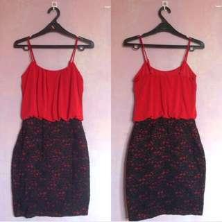 Enfocus Studio Mini Red-Black Lace Bodycon