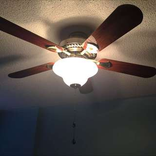 Brown Wooden 4 Blade With Lamp Ceiling Fan