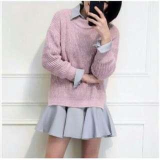 韓妞襯衫裙+針織毛衣套裝