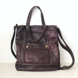 Genuine Leather Chocolate Brown Tote Handbag Shoulder Bag