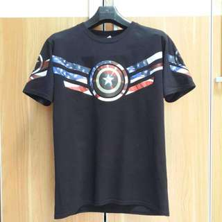 CAPTAIN AMERICA FLAG AND SHIELD T-SHIRT