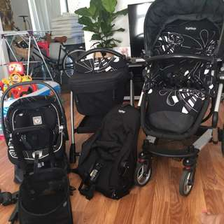 Peg Perego Skate Pram With 2nd Seat, Capsule & Bassinet 2010 Model (purchased 2011) WITH EVERYTHING