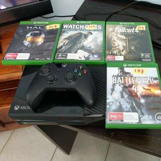 Xbox One + 4 Games + Kinnect + Controller