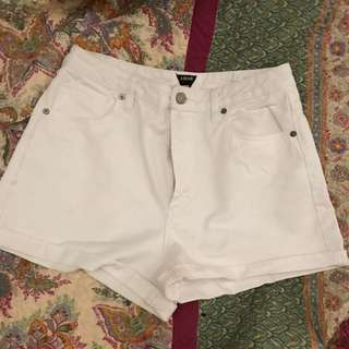 White Abrand Relaxed Fit High Waist Shorts
