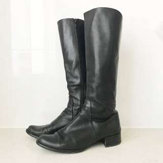 Wittner Black Genuine Leather Knee High Boots Size 36 6