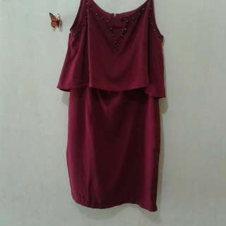 Berrybenka Icona Strap Dress Maroon