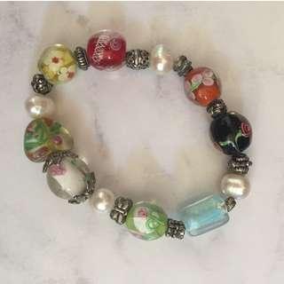 Raw Pearls & Glass Beaded Bracelet