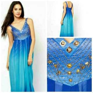 🆓 SHIPPING Asos Maxi Dress In Dip Dye-blue/ UK 12-14