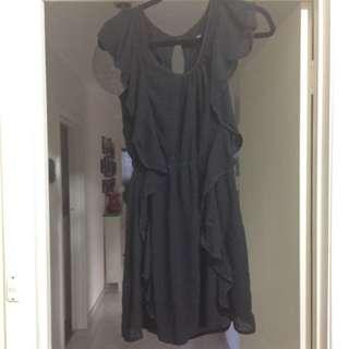 LADAKH Black Ruffle Dress