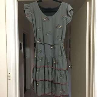 NANI Grey Ruffle Dress