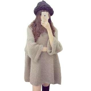 韓國馬海毛粗針織毛衣蝙蝠袖 / 套頭中長款連身裙寬鬆慵懶