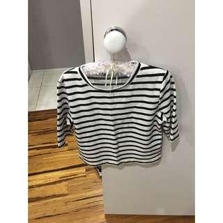 3/4 Sleeve Striped Crop Top