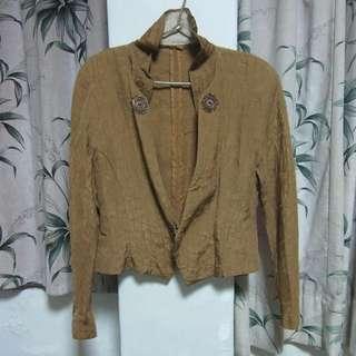 古著駝色棕色特殊材質外套+窄裙套裝