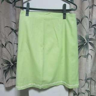 古著蘋果綠窄裙